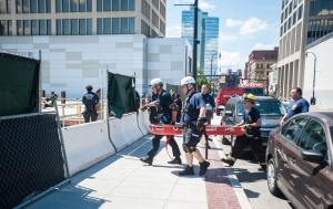 Worcester Fire Special Operations  rescues an iron worker who fell approximately 10 feet at the 90 Front Street City Square construction site Wednesday afternoon.